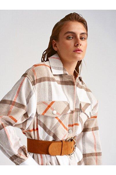 Kadın Bej Oduncu Gömlek 5688
