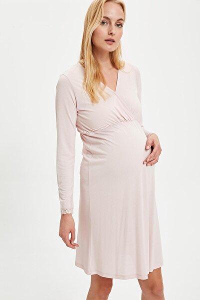 Maternityv Yaka Dantelli Regular Fit Gecelik