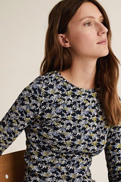Kadın Lacivert Çiçek Desenli Uzun Kollu T-Shirt T41004580