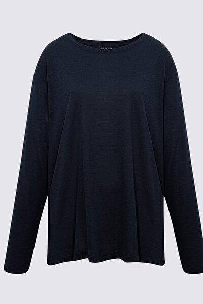 Kadın Lacivert Relaxed Uzun Kollu T-Shirt T41004770H