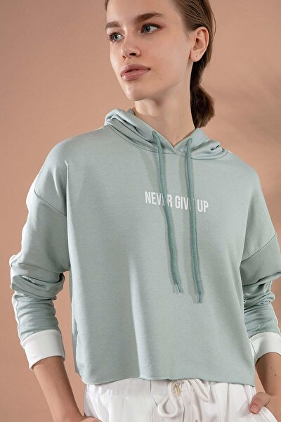 Kadın Kapşonlu Crop Sweatshirt Y20w175-9432