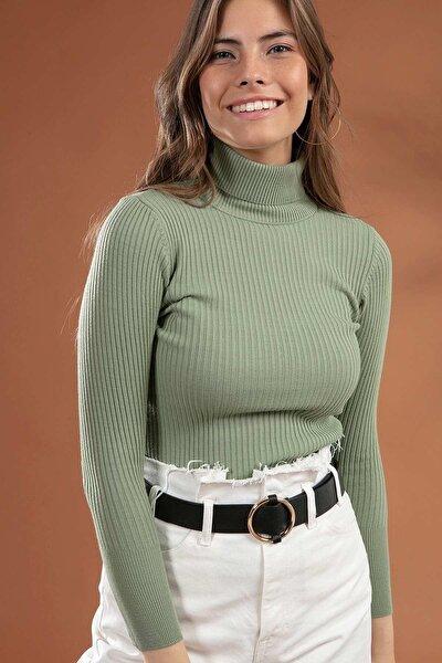 Kadın Yeşil Boğazlı Fitilli Triko Kazak Y20w110-44500