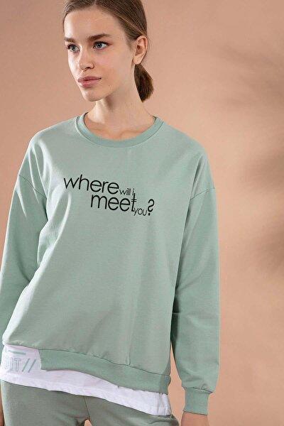 Kadın Asimetrik Kesim Etek Ucu Tişört Detaylı Sweatshirt Y20w167-7605