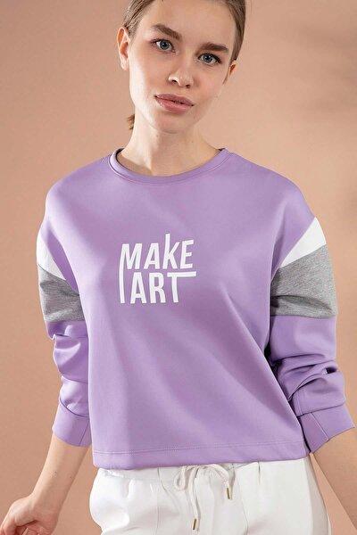 Kadın Yazı Baskılı Crop Örme Sweatshirt Y20w166-3858