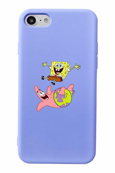 Sünger Bob Ve Patrick Tasarımlı Lila Lansman Kılıf Iphone 7-8-se2020 Uyumlu