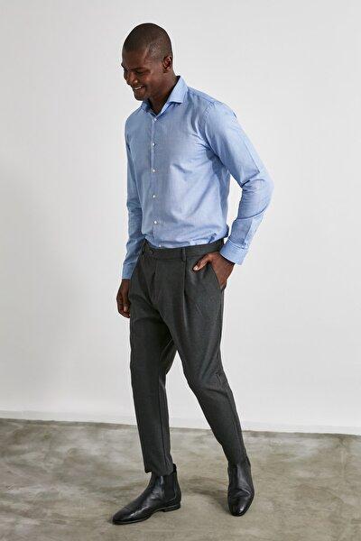 Siyah Erkek Pileli Havuç Kesim Pantolon TMNAW21PL0183