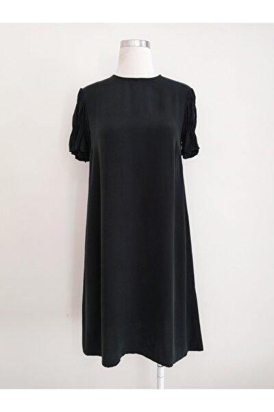 Kadın Siyah Rahat Kesim Kupra Elbise