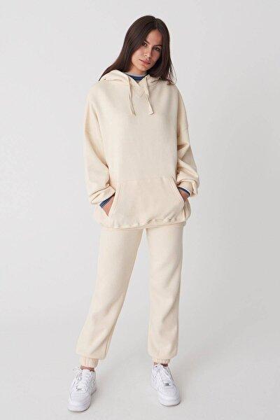 Kadın Taş Kapüşonlu Sweatshirt ADX-0000014040