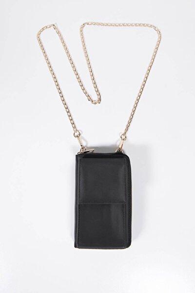 Kadın Siyah Telefon Bölmeli Cüzdan Çantası CZDN74 -F4 ADX-0000022976