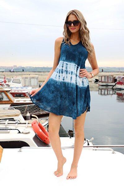 Kadın Lacivert Kısa Çan Batik Elbise