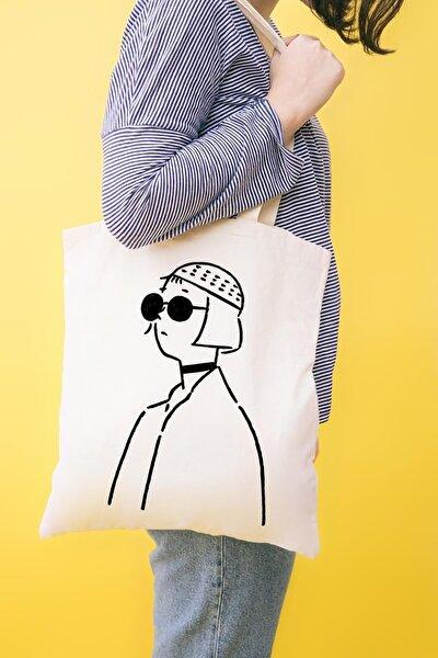 Gözlüklü Kız Baskılı Ham Bez Çanta
