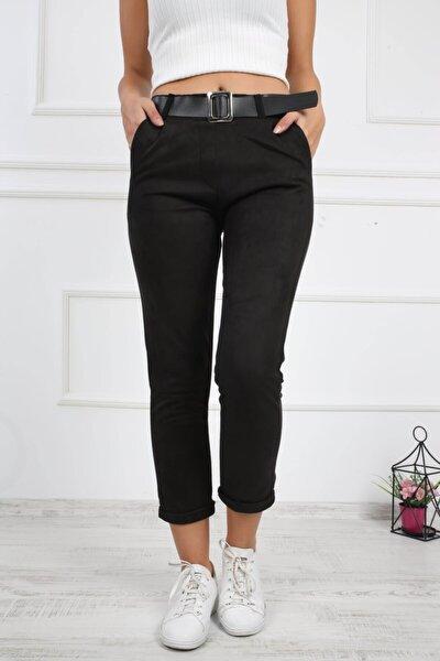 Kadın Siyah Duble Paça Süet Pantolon 424