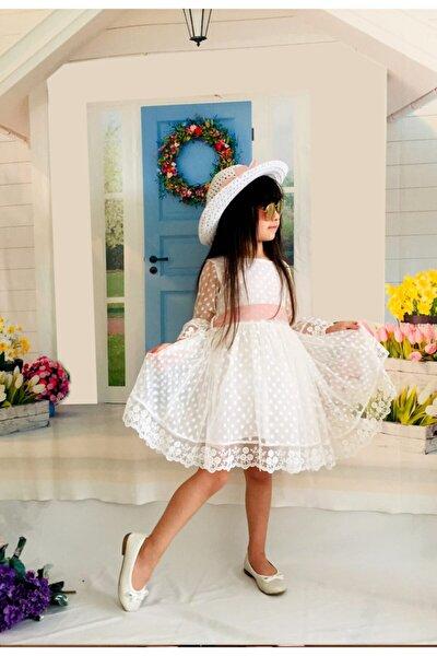 Şapkalı Güpürlü Prenses Kız Çocuk Beyaz Elbise