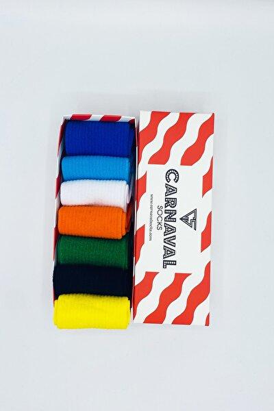 Düz Renkli Sade Desensiz Tasarım Çorap Seti
