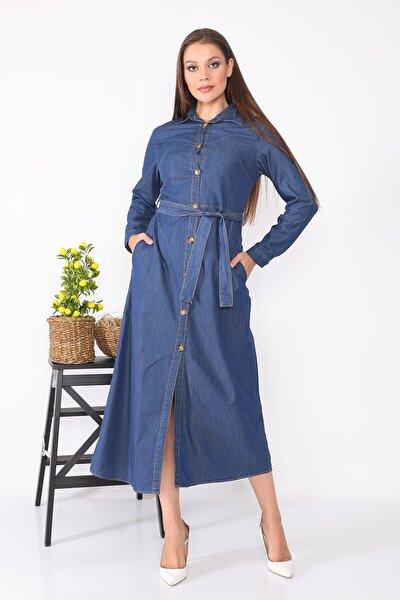 Gömlek Yaka Önden Düğmeli Uzun Kot Elbise