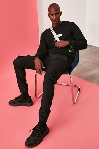 Siyah Erkek Kargo Jogger Pantolon TMNAW20PL0633