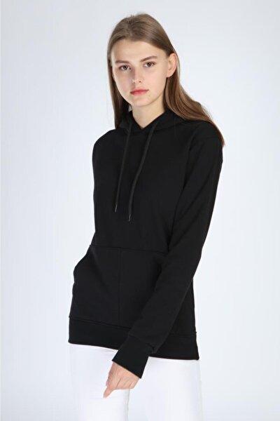 Kadın Siyah Kapüşonlü Sweatshirt