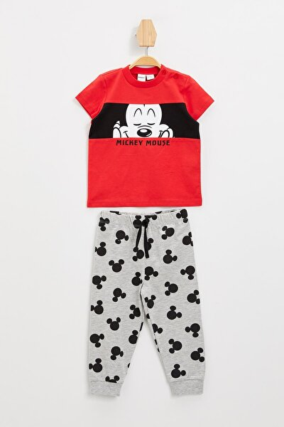 Erkek Bebek Mickey Mouse Lisanslı Pijama Takımı