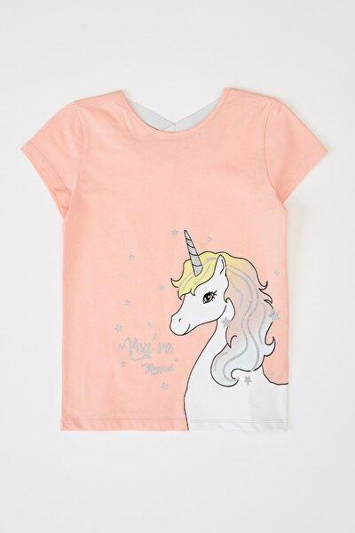 Kız Çocuk Unicorn Baskılı Kısa Kollu T-shirt