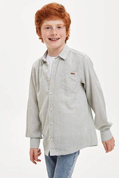 Erkek Çocuk Çizgili Kolları Katlanabilir Keten Görünümlü Gömlek M4530A620SPK