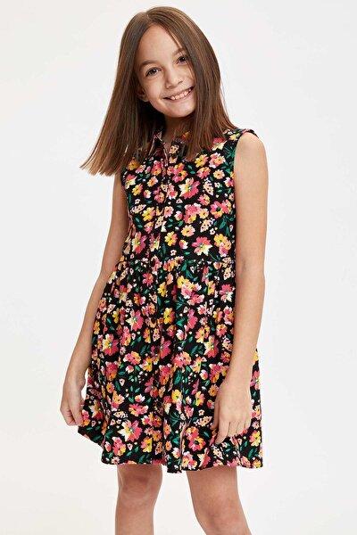 Kız Çocuk Çiçek Baskılı Düğmeli Dokuma Elbise