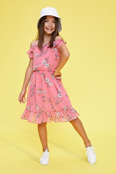 Kız Çocuk Fırfırlı Çiçek Desenli Askılı Elbise