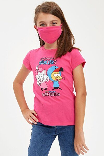 Kız Çocuk Kral Şakir Lisanslı Tişört Ve Maske Takım