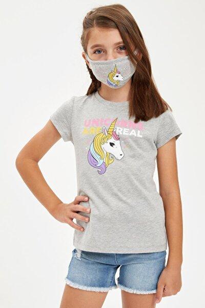 Kız Çocuk Unicorn Baskılı Tişört Ve Maske Takım