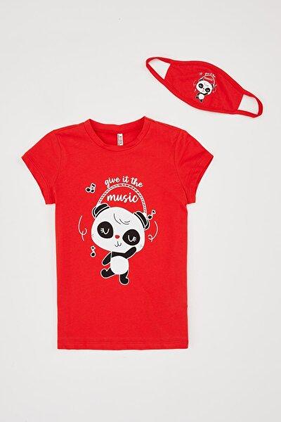 Kız Çocuk Panda Müzik Baskılı Tişört Ve Maske Takım
