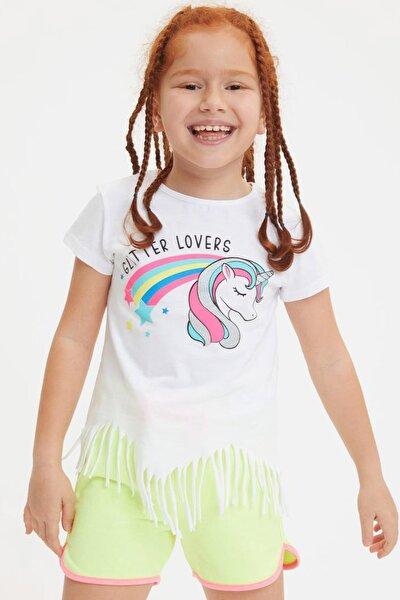 Beyaz Kız Çocuk  Baskılı Kısa Kollu T-Shirt