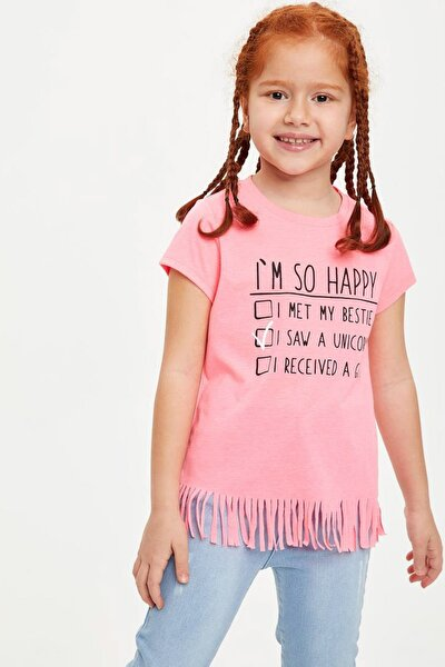 Baskılı Püskül Detaylı Kısa Kollu T-shirt