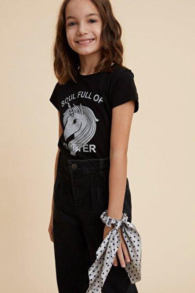 Unicorn Baskılı Kısa Kollu T-shirt