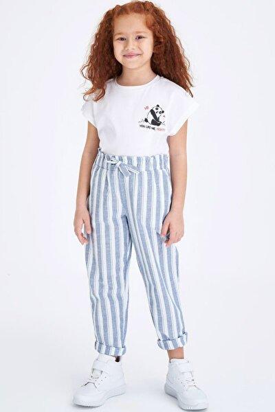 Kız Çocuk Çizgili Beli Bağcıklı Havuç Pantolon