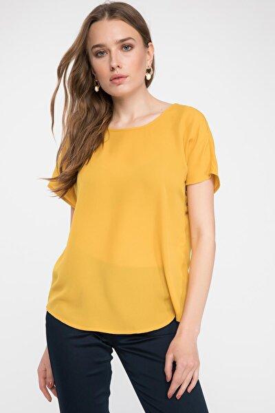 Kadın Sarı Krep Bluz G6035AZ.19SP.YL17