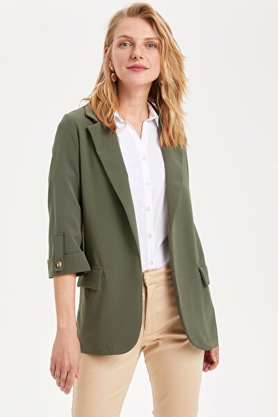 Kadın Yeşil Kolları Düğmeli Ceket L1971AZ.19SM.GN636