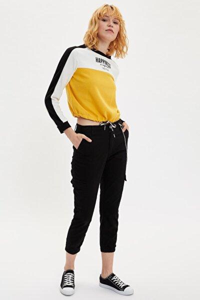 Kadın Siyah Zincirli Kargo Jogger Pantolon M0340AZ.19WN.BK27