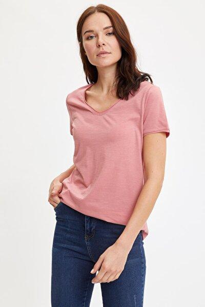 Kadın Bordo V Yakalı Kısa Kollu T-Shirt K1507AZ.20SP.BR96