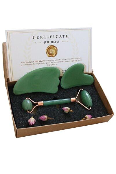 Aventurin Jade Roller Kalp Ve Melek Guasha Ikili Yüz Masaj Taşı Takımı Premium