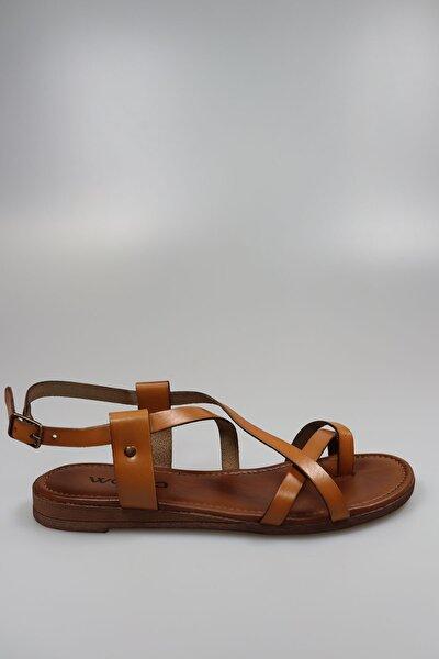 Kadın Taba Deri Sandalet