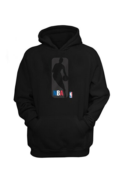Erkek Siyah Nba Logo Gear Hoodie Sweatshirt