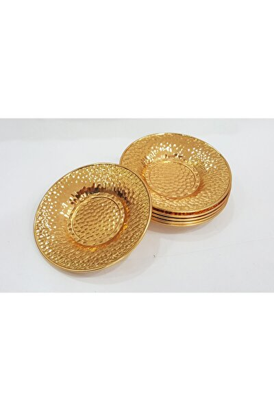 6 Adet Altın Gold Renk Çukur Nokta Desen Metal Çay Tabağı