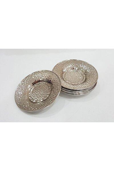 6 Adet Altın Gümüş Renk Çukur Nokta Desen Metal Çay Tabağı
