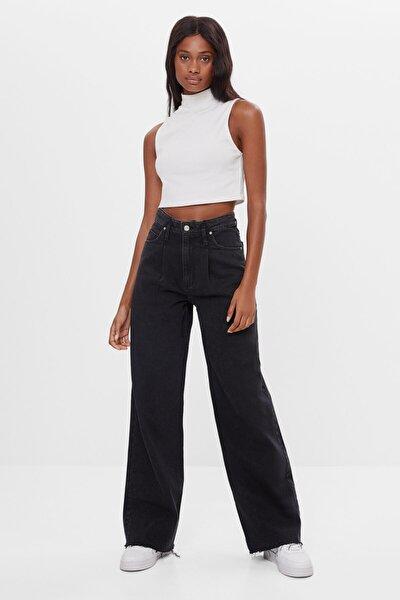 Kadın Siyah Cepli Jeans