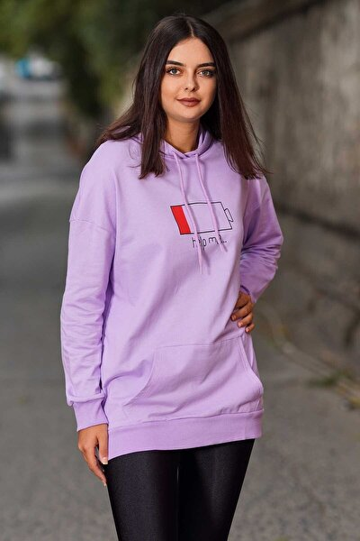 Mad Girls Purple Printed Hooded Sweatshirt Mg751