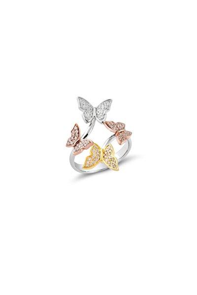 Zirkon Taşlı Kelebek Model Kadın Gümüş Yüzük