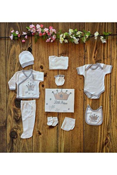 Unisex Bebek Gümüş  Kral Taç Nakışlı 10 Parça Hastane Çıkışı