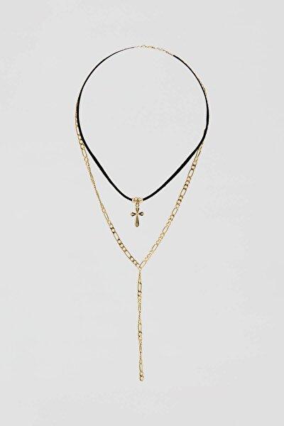 Kadın Altın Rengi Kordonlu Sembol Uçlu Kolye Seti 09996398