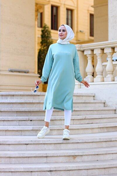Kadın Mint Baskılı Uzun Sweatshirt 1621