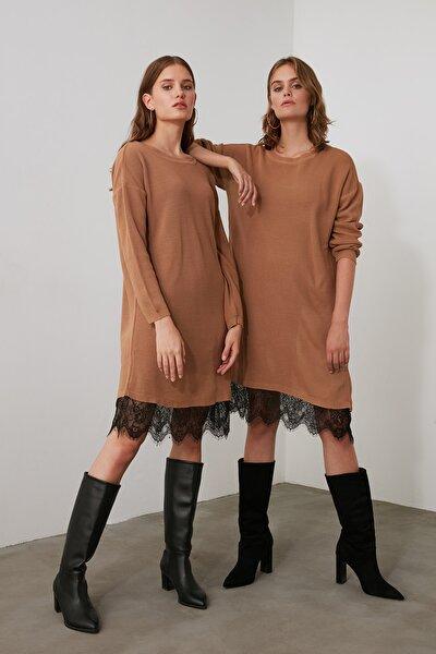 Camel Dantel Detaylı Triko Elbise TWOAW20EL0030
