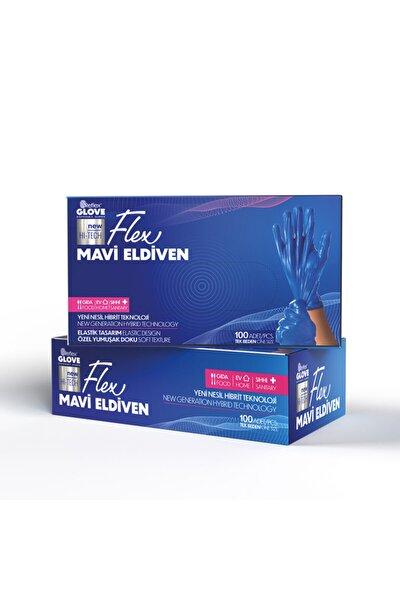 100lü Paket Mavi Flex Yeni Nesil Hibrit Teknoloji Eldiven